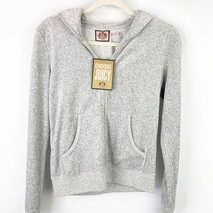 Juicy Couture Gray Velour Zip Up Hoodie